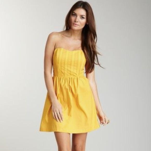 90ceb3a70a79 Olive & Oak Dresses | Olive Oak Yellow Pleated Strapless Mini Dress ...